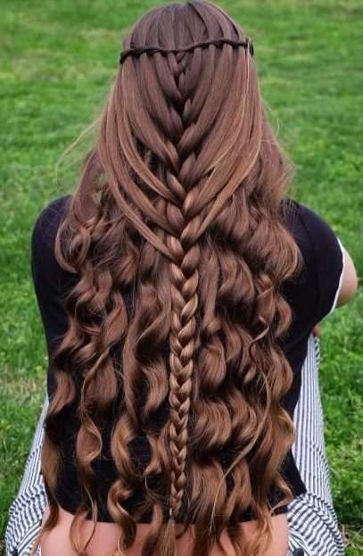 Half Up Mermaid Braid With Curls