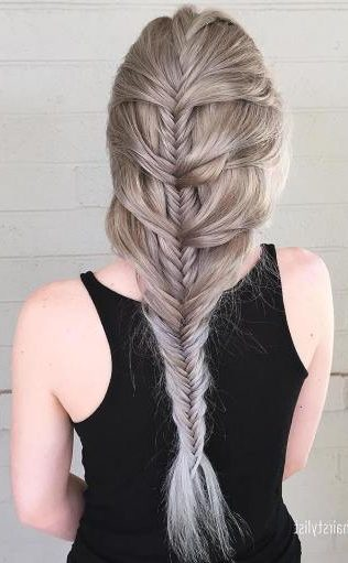 Ash Blonde Mermaid Fishtail Braid